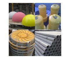 Трубы асбестоцементные, стремянки C-1, полусферы бетонные, мраморная крошка, кольца для колодцев